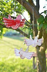 Dekorácie - Vtáčiky závesné červené - 12194008_
