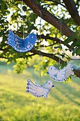 Dekorácie - Vtáčiky závesné modré - 12194087_