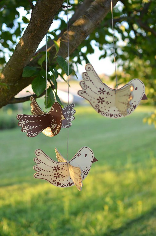 Dekorácie - Vtáčiky závesné hnedé - 12194078_