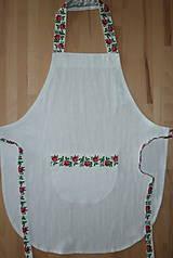 Iné oblečenie - Zásterka biela ľanová s ružami - 12195229_