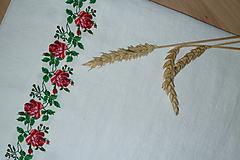 Úžitkový textil - Ľanový chlebník biely Ruže v oblúkoch - 12195295_