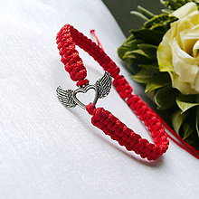 Náramky - Makramé náramok- okrídlené srdce - 12193138_