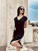 Šaty - FNDLK bambus šaty 479 RV midi s rozparkem - 12193740_