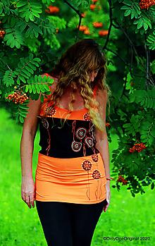 Tričká - Dámske tielko šité, maľované, etno ORANŽÁDA - 12193785_