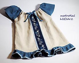 Detské oblečenie - Detské šatočky MODROTLAČ/ľan s volánikom 2. - 12195194_