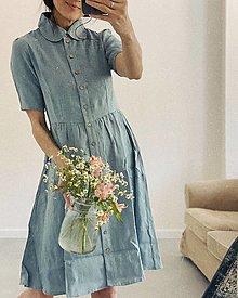 Šaty - Dámske ľanové šaty WENDY krátky rukáv - 12193682_
