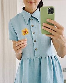 Šaty - Dámske ľanové košeľové šaty MARGOT - krátky rukáv - 12193731_