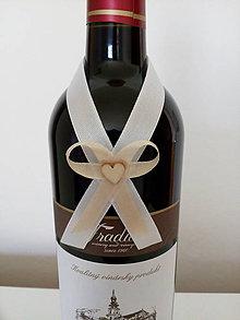 Pierka - Svadobná mašľa na fľašu 9 - 12194673_