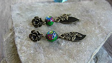 Náušnice - Romantické ružičkové náušnice, č. 3266 - 12194933_
