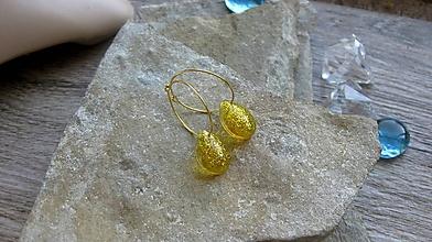 Náušnice - Kruhy (so zlatými trblietavými slzičkami, č. 3268) - 12195466_
