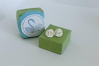 Náušnice - Mini Ruže (biele) - 12195270_