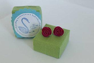 Náušnice - Mini Ruže (magenta) - 12195378_