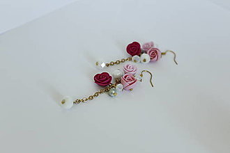 Náušnice - Visiace náušnice s ružami - 12195384_