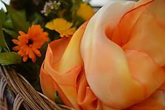Šatky - Maľovaná hodvábna šatka Calendula. - 12197583_
