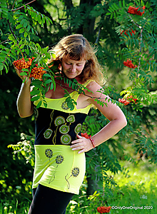 Tričká - Dámske tielko šité, maľované, etno MANGO LASSI - 12196700_