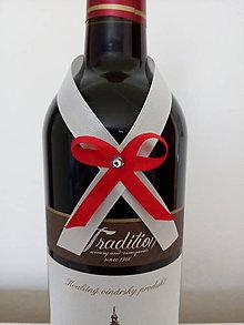 Pierka - Svadobná mašľa na fľašu 10 - 12196643_