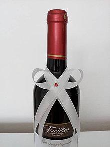 Pierka - Svadobná mašľa na fľašu 12 - 12196935_