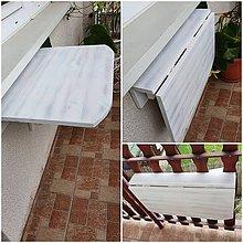 Nábytok - Sklapaci stolik na balkon biely - 12196712_