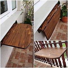 Nábytok - Dreveny sklapaci stolik na balkon hnedy - 12196728_