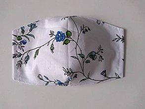 Rúška - Rúška tvarované (veľ. S) (modré kvetinky na bielej) - 12196960_