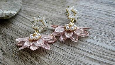 Náušnice - Elegantné kvietky (staro ružové, č. 3277) - 12197669_