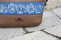 Kabelky - Modrotlačová kabelka Lea hnedá AM 1 - 12196288_