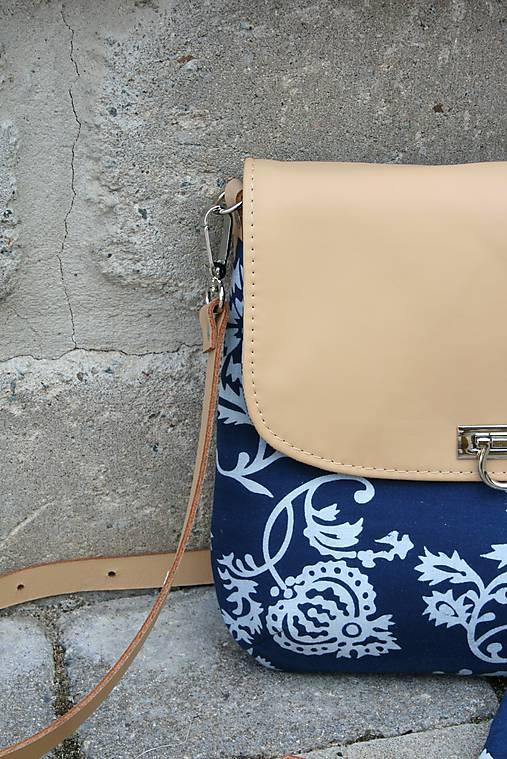 Modrotlačová kožená kabelka RIA + taštička