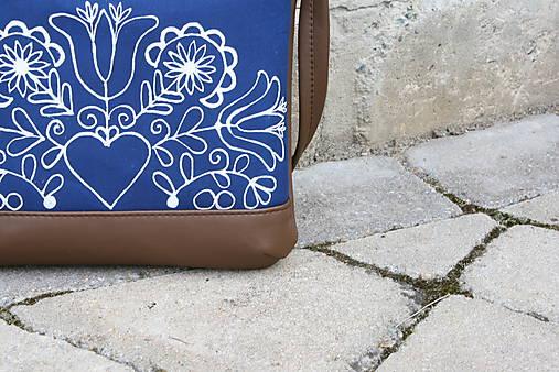 modrotlačová kabelka Dara XL hnedá AM1