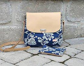 Kabelky - Modrotlačová kožená kabelka RIA + taštička - 12196262_