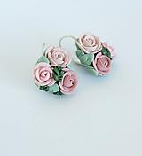 Náušnice - Náušnice Ružové kytičky - 12198465_