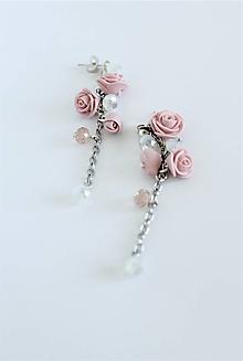 Náušnice - Visiace náušnice s ružami - 12198348_
