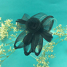 Ozdoby do vlasov - Black Rose Fascinator - 12199566_