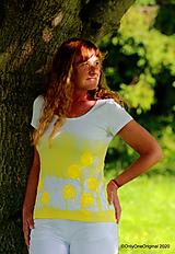 Tričká - Dámske tričko batikované, maľované TARAXACUM - 12199382_