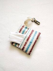 Taštičky - Puzdro na rúško, modro-hnedý pásik - 12199370_