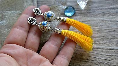 Náušnice - Romantické náušnice s kvietkami a strapcami (modro žlté, č. 3280) - 12200523_
