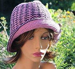 Čiapky - Bavlnený lila klobúčik - 12201369_