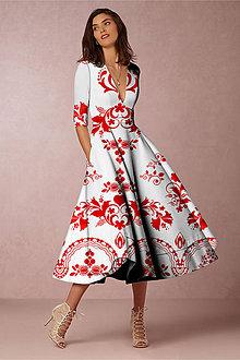 """Šaty - FLORAL FOLK """" Slovenská ornamentika """", spoločenské šaty v dĺžke midi (Biela + červený akvarel) - 12202853_"""