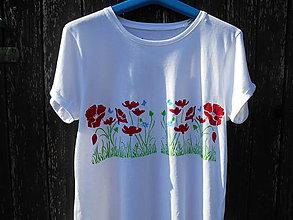 Tričká - červené maky-tričko-ručne maľované - 12203608_