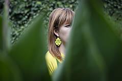 Náušnice - Lime Nina - Ručne šité šujtášové náušnice - Soutache earrings - 12201693_