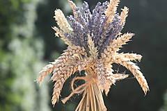 Potraviny - Levanduľová kytička s obilím VINTAGE svadba - 12201422_