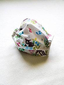 Rúška - Tenké bavlnené rúško detské, srnky - 12201283_