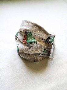 Rúška - Tenké bavlnené rúško detské, loďky - 12201285_
