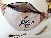 Kabelky - Ľadvinka Butterfly (motýlik) - (kanvas + dubový korok) - 12203147_