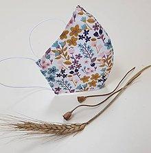 Rúška - Dizajnové bavlnené rúško - Autumn (Okrové kvietky) - 12202856_