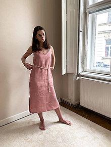 Šaty - Linen 'V' dress in pink - 12202464_