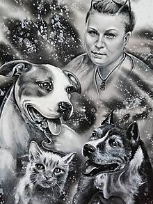 Obrazy - portrét s domácimi miláčikmi - 12204075_