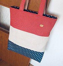 Nákupné tašky - taška červeno bielo modrá - 12205641_