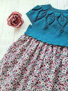 Detské oblečenie - Šaty tyrkysovo-cyklámenové - 12204457_