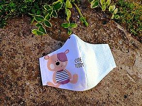 Rúška - Detské tvarované RÚŠKO s drôtikom - nové vzory II. (cute teddy + mentol s bodkou) - 12205291_