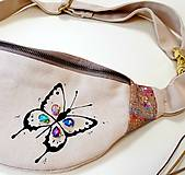 Kabelky - Ľadvinka Butterfly (motýlik) - (kanvas + dubový korok) - 12204338_